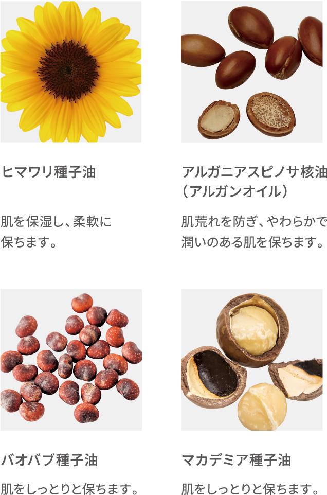 ヒマワリ種子油 アルガニアスピノサ核油(アルガンオイル)バオバプ種子油 マカデミア種子油