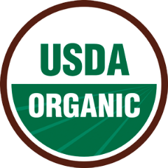 95%以上オーガニック原料を使用し、厳しい基準をクリアした製品にのみ表示できるオーガニック認証「USDA」。